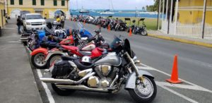 Bikes were lined up in Christiansted on Wednesday. (Photo courtesy of Mark Finch)